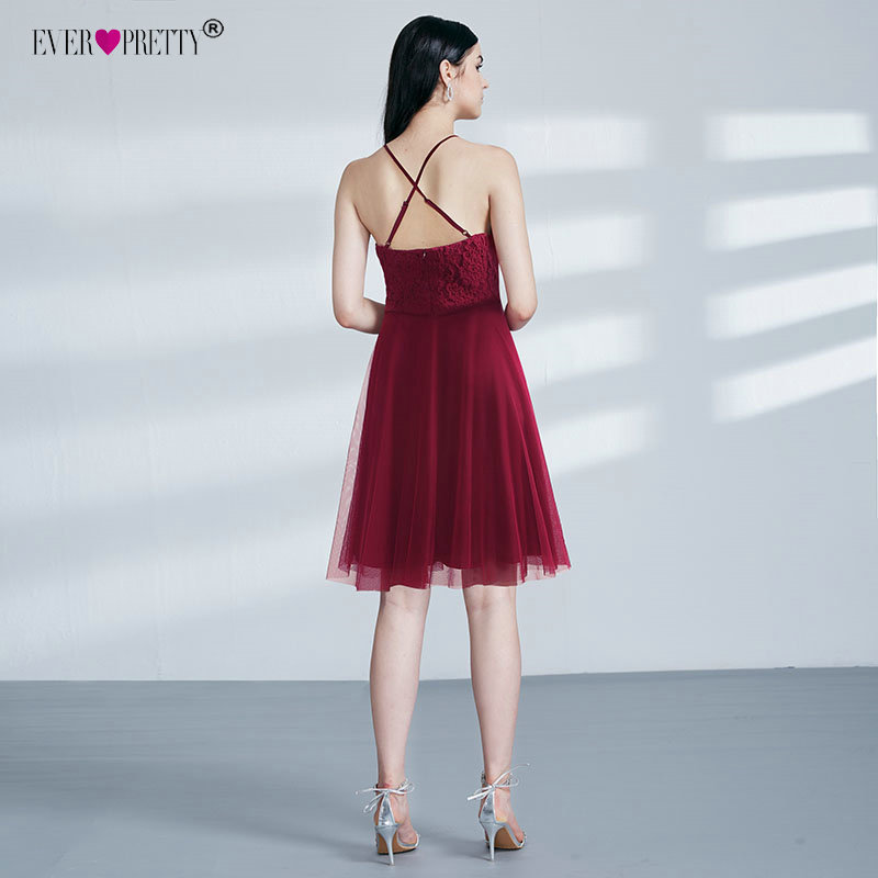 Knee Length Short Bridesmaid Dresses Ever Pretty Burgundy Tulle Lace A-line Wedding Party Dress Sexy Criss-Cross Backless Gown