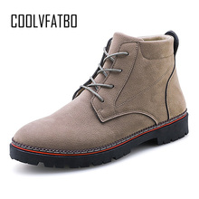 Купить с кэшбэком COOLVFATBO PU Leather Men Boots Autumn Winter Ankle Boots Fashion Footwear Lace Up Shoes Men High Quality Vintage Men Shoes