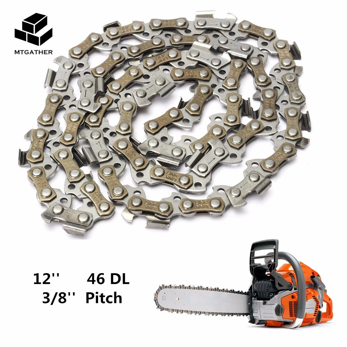 MTGATHER Substitution Chainsaw Saw Mill Chain Blade 12'' 46 Drive Link 3/8'' Pitch 050 Gauge for Wood Cutting Chainsaw Parts 16 size chainsaw chains 3 8 063 1 6mm 60drive link quickly cut wood for stihl 039