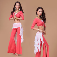 Women 1/2 Sleeve Belly Dancing Costume Set Femamle 3 Pcs (Top+Pants +Belt ) Bellydance Costume for Practice Stage Performance 18