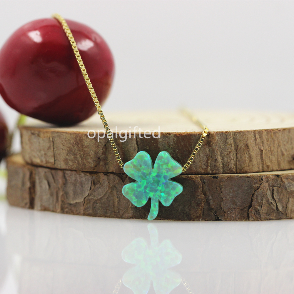 Free Shipping Trendy 12 13mm Lucky four leaf clover opal necklace green fire synthetic opal clover