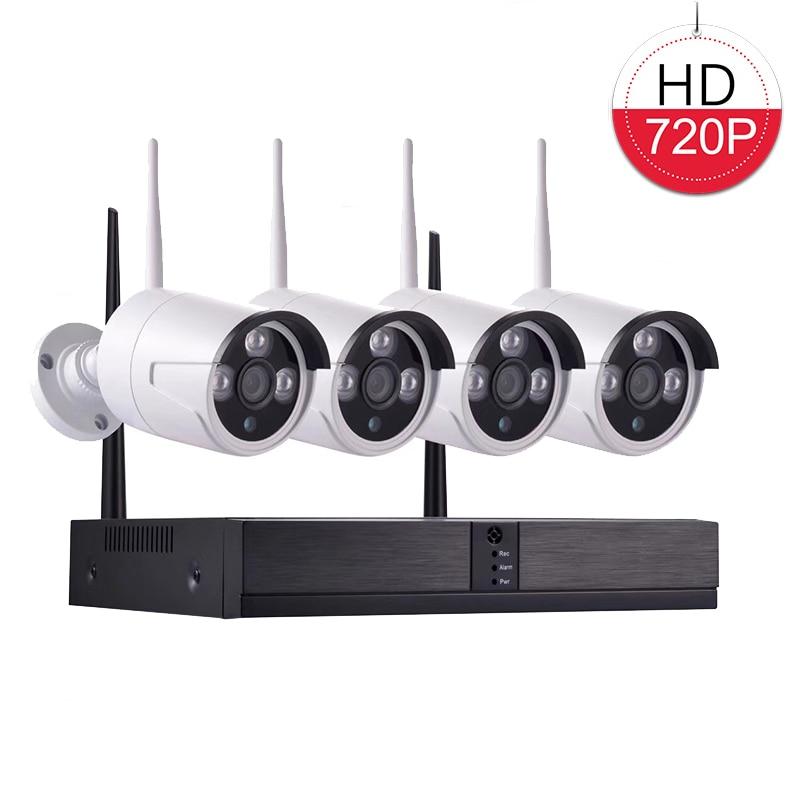 Plug and Play 4CH 720 P HD sans fil NVR Kit P2P 1MP extérieur étanche balle IR Vision nocturne caméra de sécurité WIFI système de vidéosurveillance