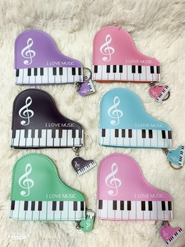 50 pcs Music keyboard mix PU wallet keychain bag pendant key chain for Lovers Gifts