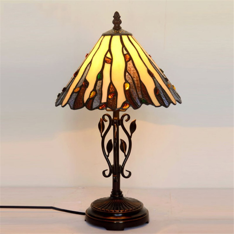 European Style Antique Simple Glass Bedside Table Lamp,Baroque Mission Large Desk Bed Decorative Lamp Living Drawing Room Office fumat stained glass lamp european style antique chandelier complex classic living room hotel glass art lamp curtains beads lamp