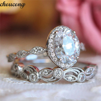 choucong Vintage Promise ring set AAAAA Zircon Cz 925 sterling silver Engagement Wedding Band Rings for women men Flower Jewelry newshe pear shape blue side stones aaa cz solid 925 sterling silver wedding ring set engagement band fashion jewelry for women