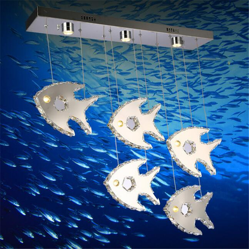 Romantic Modern Creative K9 Crystal Fishes 5 Heads Led Pendant Light for Dining Room Bar Restaurant AC 80-265V 1362 modern fashion luxurious rectangle k9 crystal led e14 e12 6 heads pendant light for living room dining room bar deco 2239