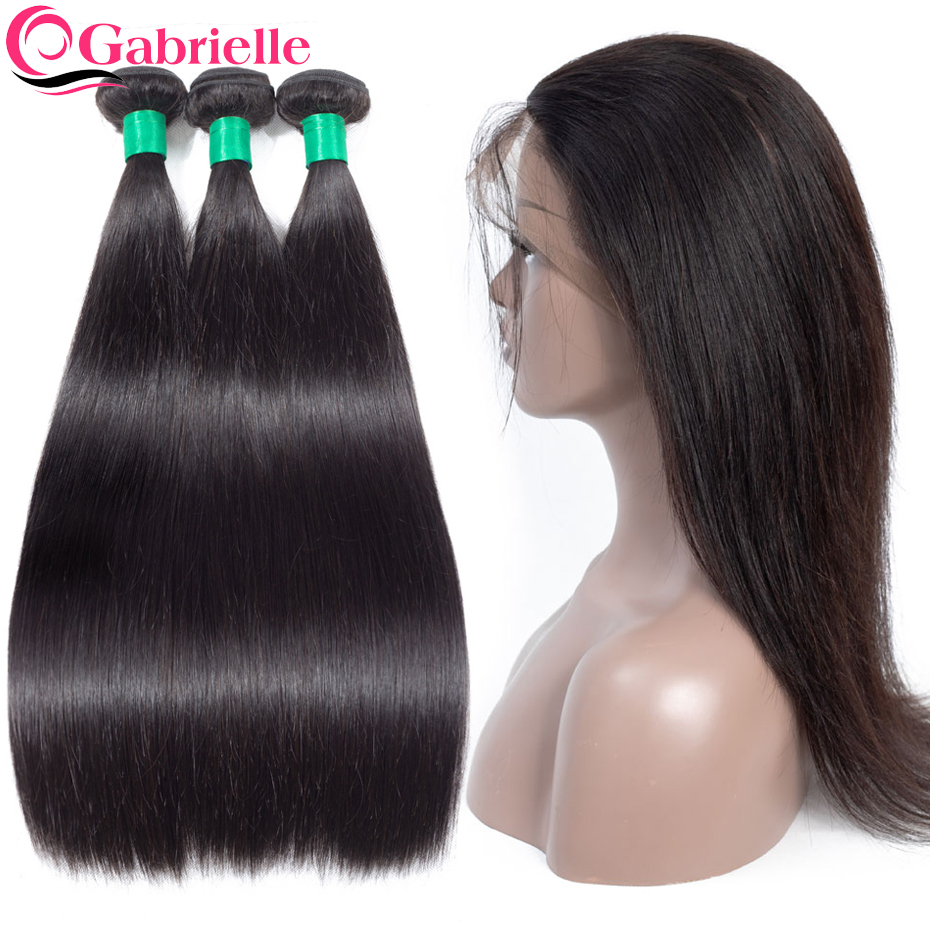 Gabrielle Brazilian Straight Hair Bundles with 360 Frontal Natural Color non remy Human Hair Weave Bundles