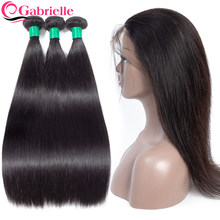 Gabrielle Brazilian Straight Hair Bundles with 360 Frontal Natural Color non-remy Human Hair Weave Bundles with Frontal Closure(China)