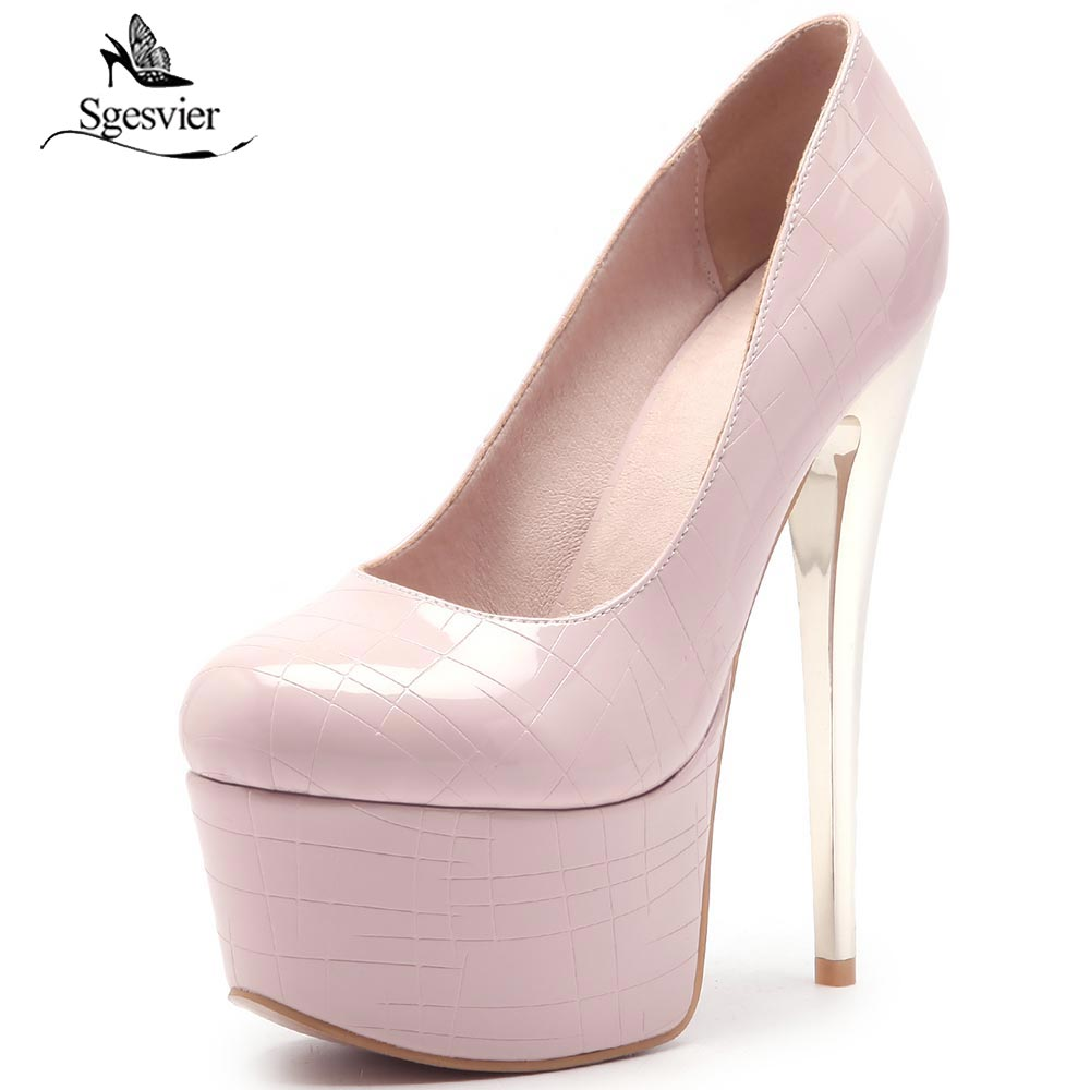 SGESVIER Sexy Thin High Heels Shoes Woman Round Toe Women Shoes Platform Party Wedding Shoes Zapatos Femininos Size 33-48 OX297 taoffen women high heels shoes women thin heeled pumps round toe shoes women platform weeding party sexy footwear size 34 39
