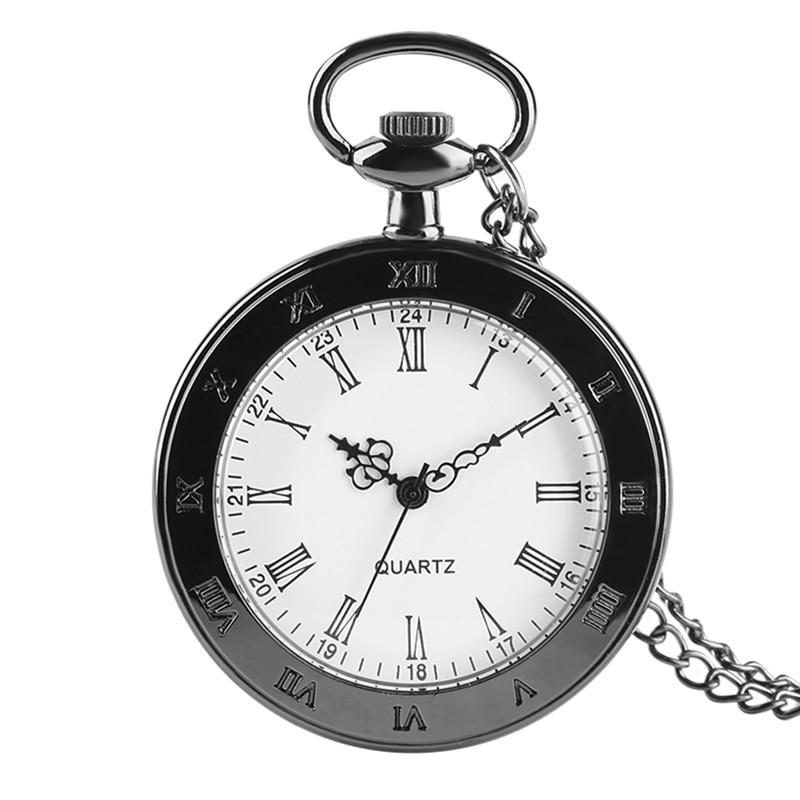 Classic Roman Numerals Pocket Watch Quartz Watch For Men Women Old Fashion Open Face Pendant Necklace Watch Gifts Children Reloj