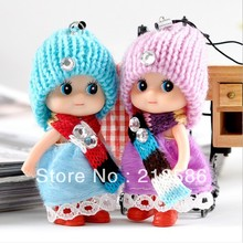 Free Shipping super cute 8cm baby doll toy for kids as phone charm strap /bag pendant Christams gift for children Wedding gift