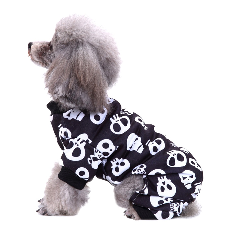 Winter Warm Cartoon Pet Clothes Skull Print Halloween Cat Dog Coat Jacket Puppy Clothing Outfits Chihuahua Pug Costume Jumpsuit in Dog Coats Jackets from Home Garden