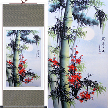 High Quality Traditional Chinese Painting Pine Bamboo&Plum Blossom Wall Art Hang Picture Silk Scroll Frame For Living Room Decor