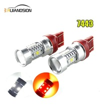 Newest 2PCS Red+White High Power Samsung 2835Chip 16SMD LED 7443 Dual Color Switchback Turn Signal Light Bulbs 12-24VDC