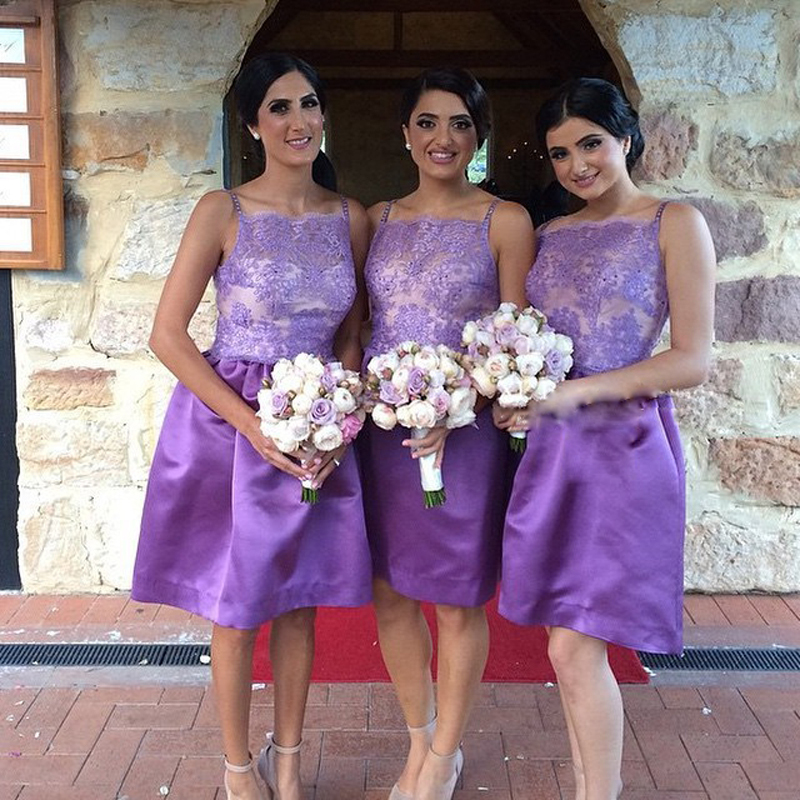 Latest Sexy Short Bridesmaid Dresses Spaghetti Strap Simple Satin ...