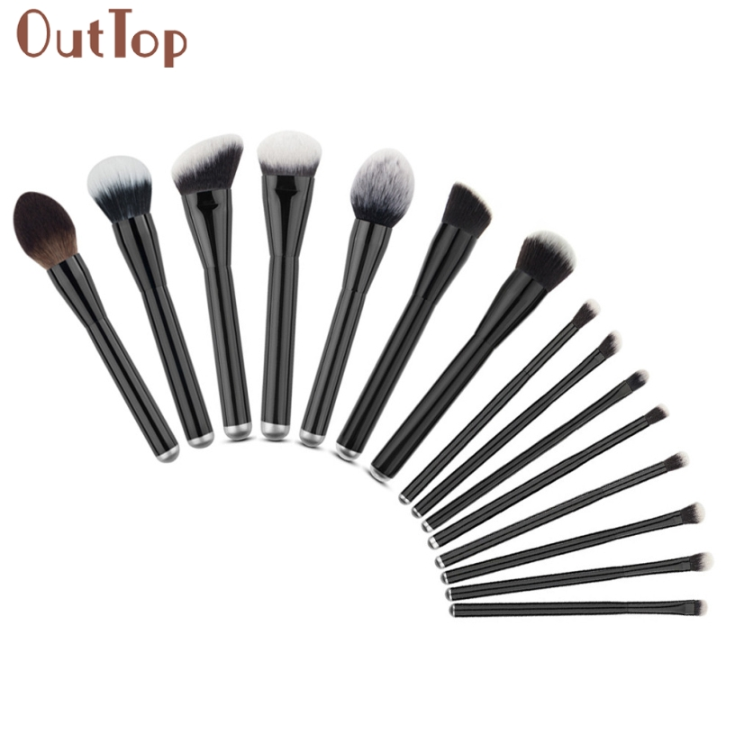 OutTop Pretty New Good Quality Women 15PCS Make Up Foundation Eyebrow Eyeliner Blush Cosmetic Concealer Brushes Gift 1Set outtop pretty new good quality pink colour sponge puff 24 pcs cosmetic makeup brushes foundation brushes tool 1 set