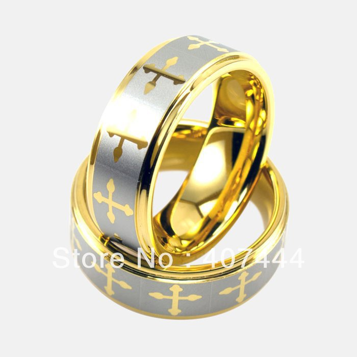 Free Shipping Cheap Price Jewelry USA Brazil Russia Hot Sales His/Her 8mm new Gold Lasered New Tungsten Ring Mens Wedding Band