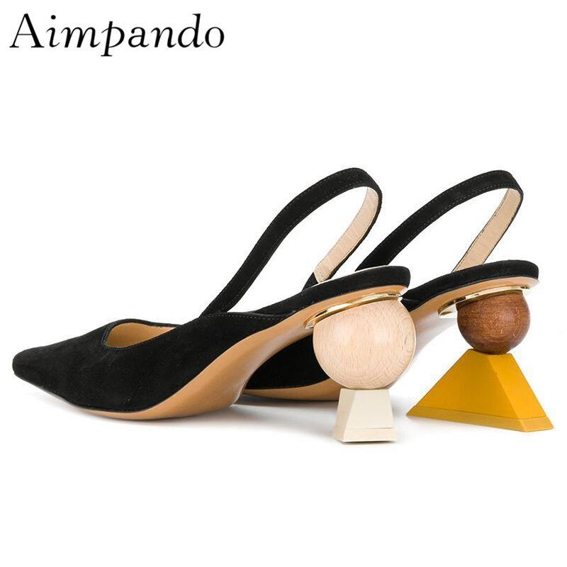 Unique Geometric Block Heel Sandals Women Black Suede Back Strap Slingbacks Gladiator Sandals Summer Shoes Woman