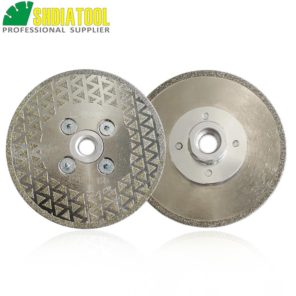 SHDIATOOL 2pcs/pk 4inch M14 Single Side Coated Diamond Saw Disc 105mm Electroplated Diamond Cutting & Grinding Blade M14 Thread