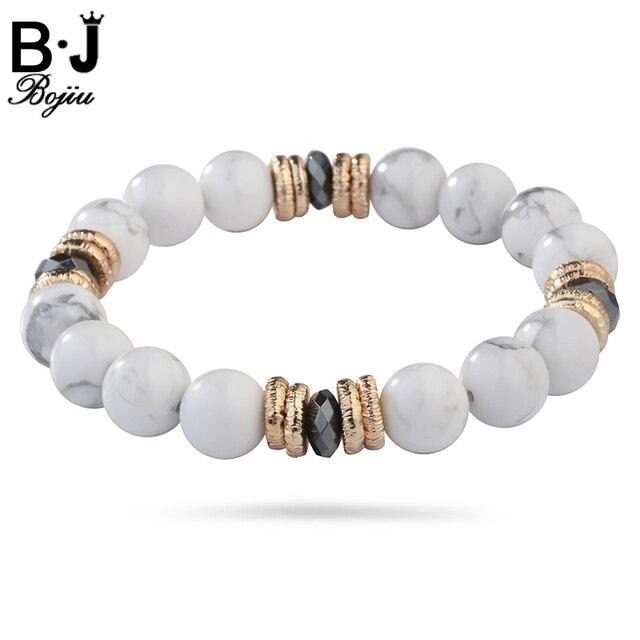 Bojiu Clear Bracelets Mixed Colored Copper Connections Exquisite Natural Stone Women S Bracelet 10mm Beaded Elastic