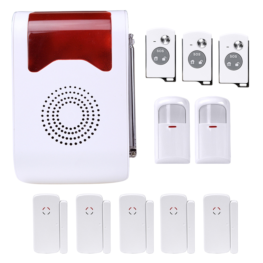 Voice Prompt Wireless Home Office Living Room Bedroom Alarm Security System  Strobe Siren Support Max 32