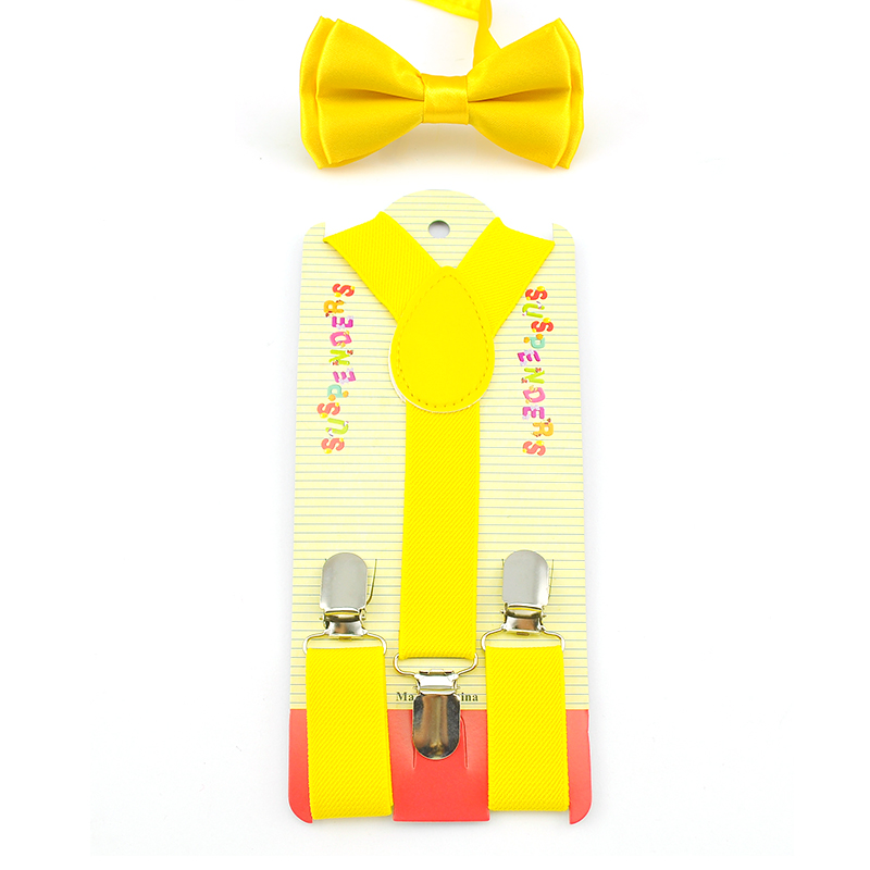 Hot ! Elastic & Bow tie Suspenders Set Y-Shape Braces&Butterfly Sets Fashion Kids Children Boys Girls Yellow Pattern 22 Color