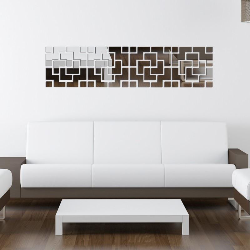 Modern TV háttér 3D fal matricák akril tükör DIY fali matricák - Lakberendezés - Fénykép 2