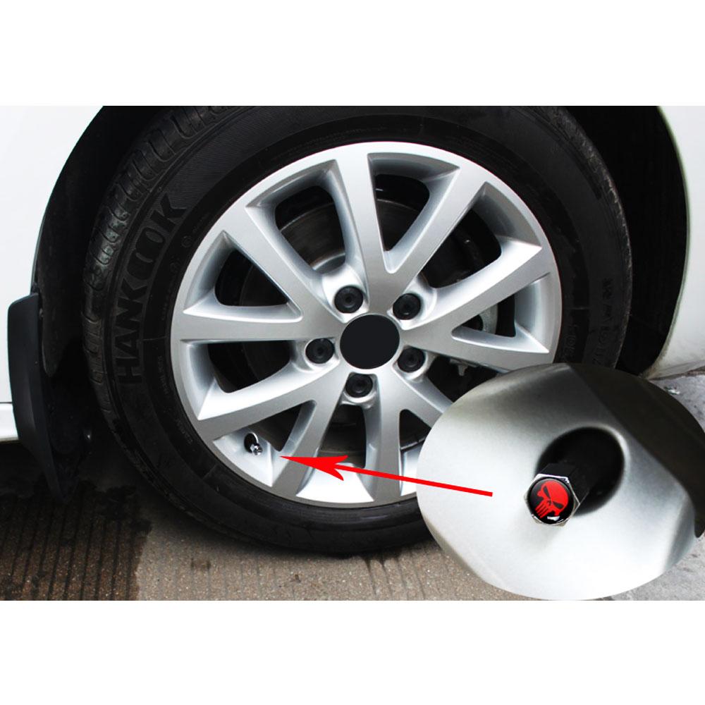 DSYCAR  4Pcs/Set Car Auto Wheel Tyre Tire Stem Air Valve Caps Dust Covers Skull For Car/Motorcycle,Air Leakproof 5