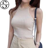 Women Crop Top 2015 New Blouses Summer Cotton Vest Womens Off Shoulder Halter Sexy Sleeveless Tops