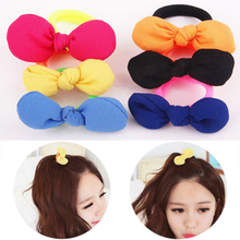 Hot Chiffon Bowknot Girls Elastic Hair Bands Lovely Adjustable Children Candy Color Hair Rope