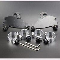 49mm Motorcycle Fork Bracket Gauntlet Fairing Black Trigger Lock Mount Kit For Harley Dyna FXD FXDC