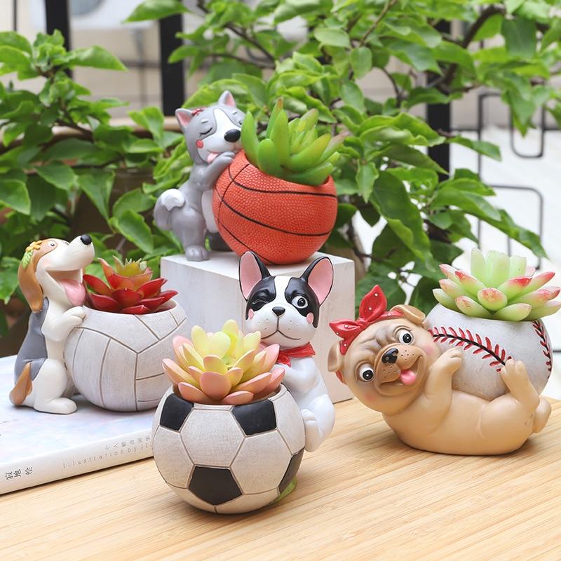 Corgi Flowerpot Basketball Football Flower Planter Mini Bonsai Succulent Plants Pot Home Decor Ball Craft