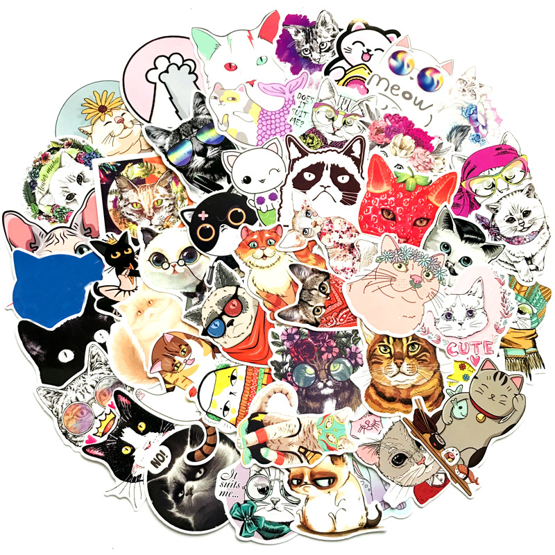 50 Pcs/lot Cute Cat Style Kitten Stickers For Computer Skateboard Fridge Bicycle PVC Waterproof Decal Stationery Stickers