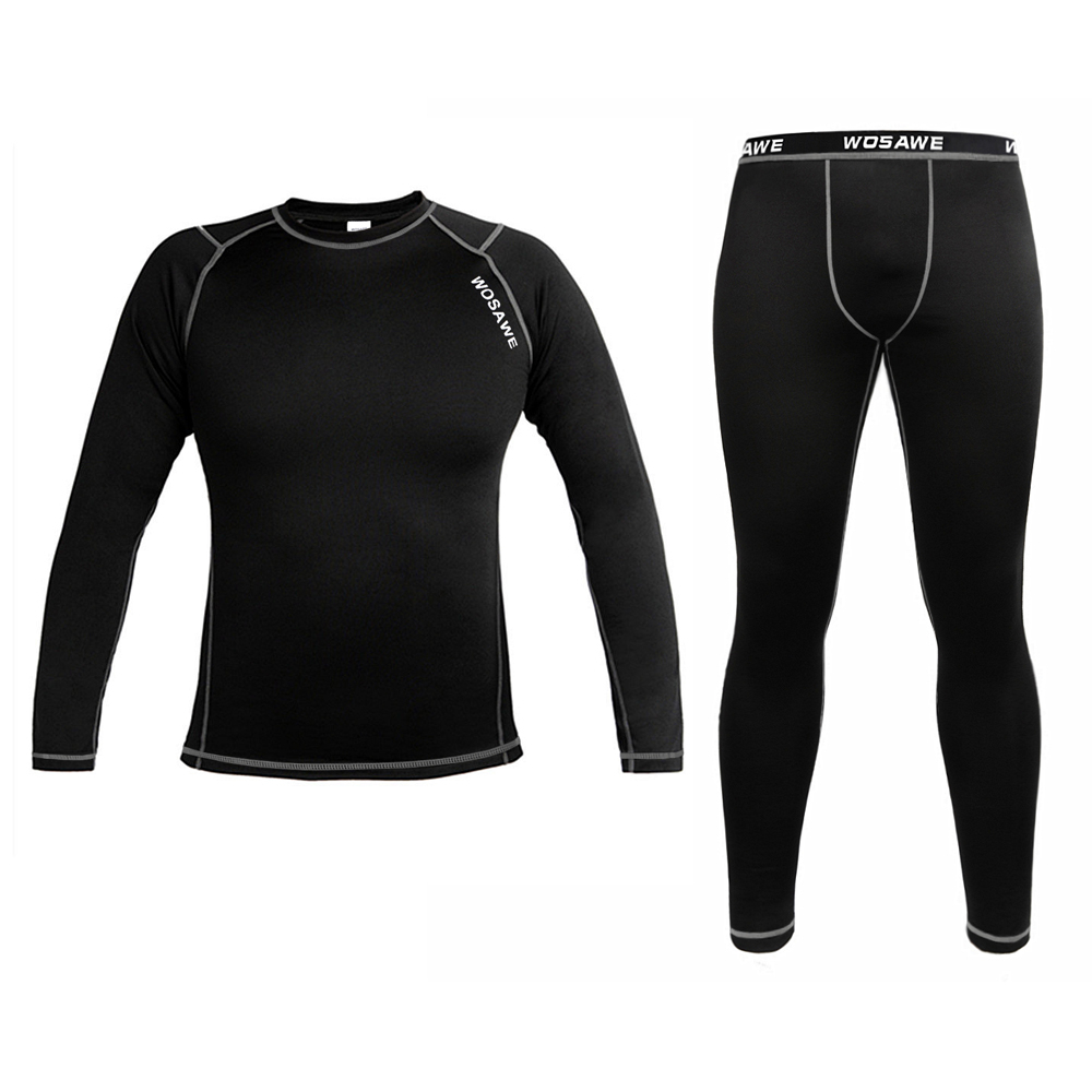 WOSAWE Mens Thermal underwear long johns Compression Base Layer Sport Cycling Bicycle bike Under Wear Long
