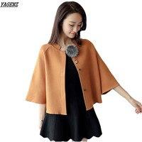 YAGENZ 2017 Spring Autumn Knit Coat Female Cardigan Sweater Korean Version Short Loose Cloak Bat Sleeves