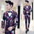 Jaqueta + colete + calça frete grátis 2016 mens Slim fit ternos de vestido do terno do casamento do noivo Coreano flor impresso fase 3-piece set terno