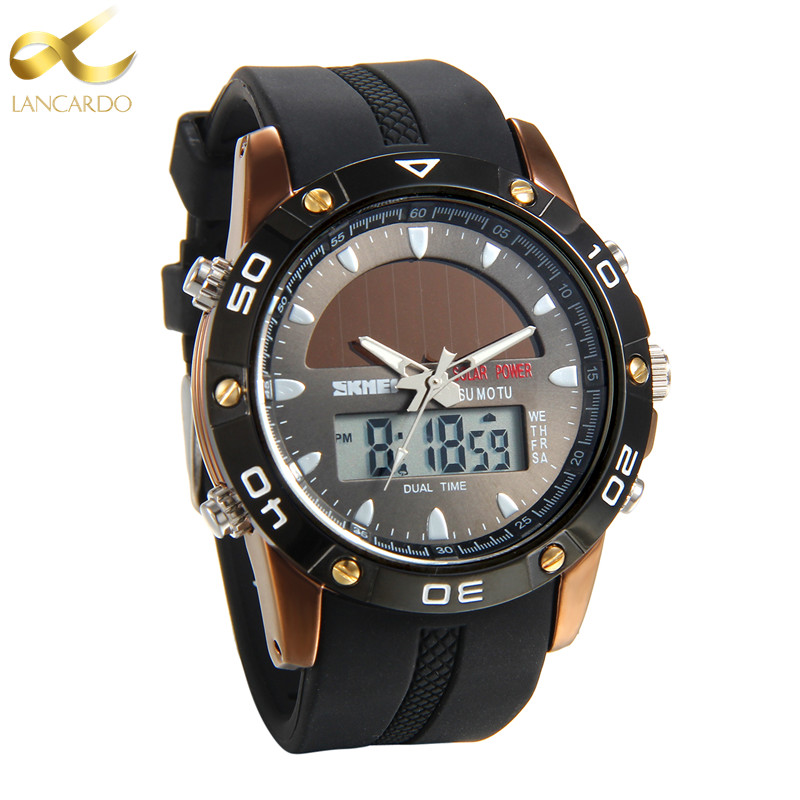 Lancardo Brand Dual Display Wristwatches Military Alarm Quartz Clock Male Gift Mens Sports Watch For Men Hours Relogio