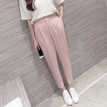 Высокое качество 2017 Весна Корейских Женщин Классический Высокий Эластичный Пояс Шаровары Женские Брюки Мода Slim Сплошной Цвет пят брюки