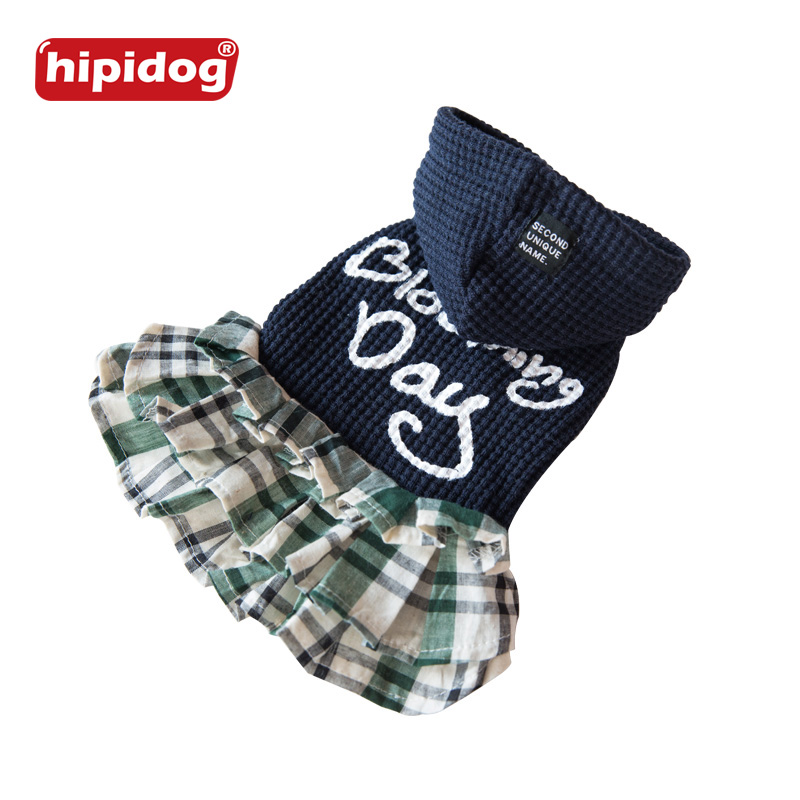 Hipidog Fashion Dog Lattice Stripes Hooded Sweater For Small Dogs Puppy Autumn Winter Clothing Supplies Pet Cute Pet Dog Clothes