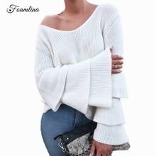 Здесь можно купить  Foamlina Layered Ruffle Sleeve Loose Pullover Jumper Women Elegant V-neck Long Flare Sleeve Knitted Top Casual Female Sweaters