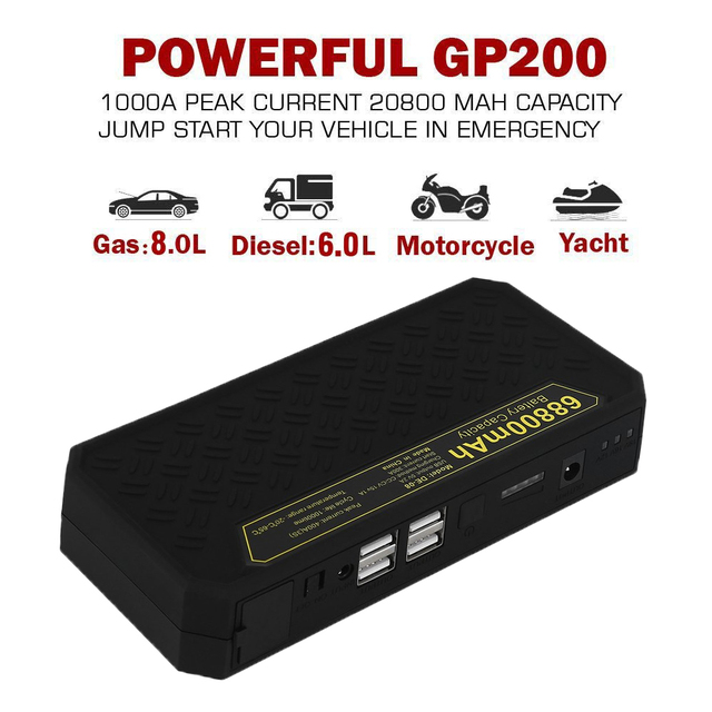 New Super Capacity 68800MAH Car Jump Starter Emergency Vehicle Battery Power Bank Charger With Safety Flashing Light