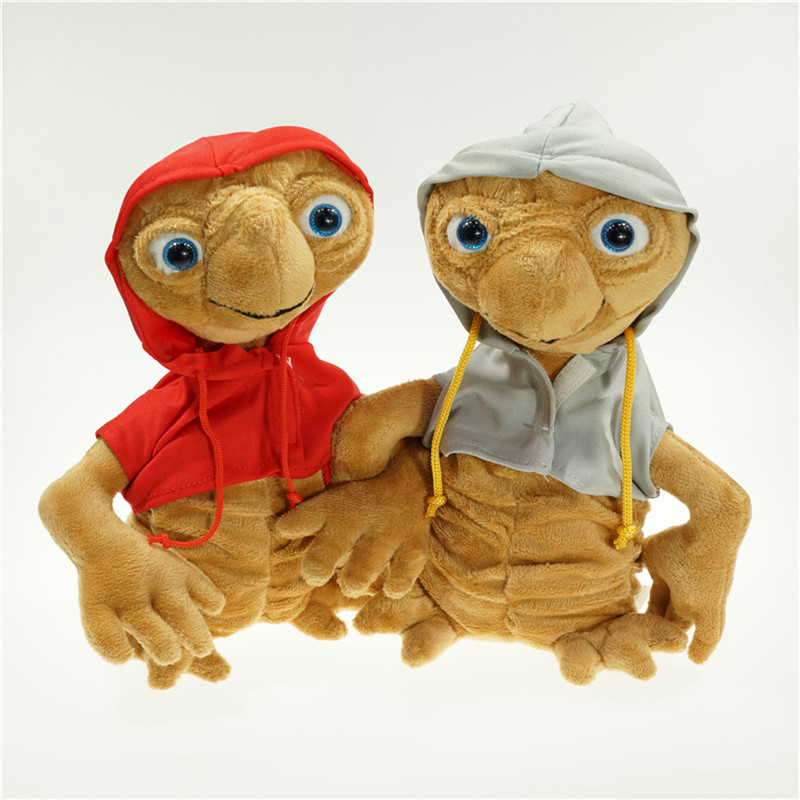 27CM E.T Plush Toys Soft Stuffed Animal Doll ET Extra Terrestrial Alien with Hoodie Anime Cartoon Kids Christmas Gift