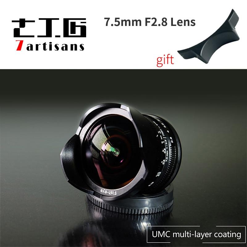 7 artigiani 7.5 millimetri F2.8 Fish-eye Wide-angle lens per micro Singola fotocamere della Serie E di Montaggio o micro 4/3 o canon M o fiji-XF mount