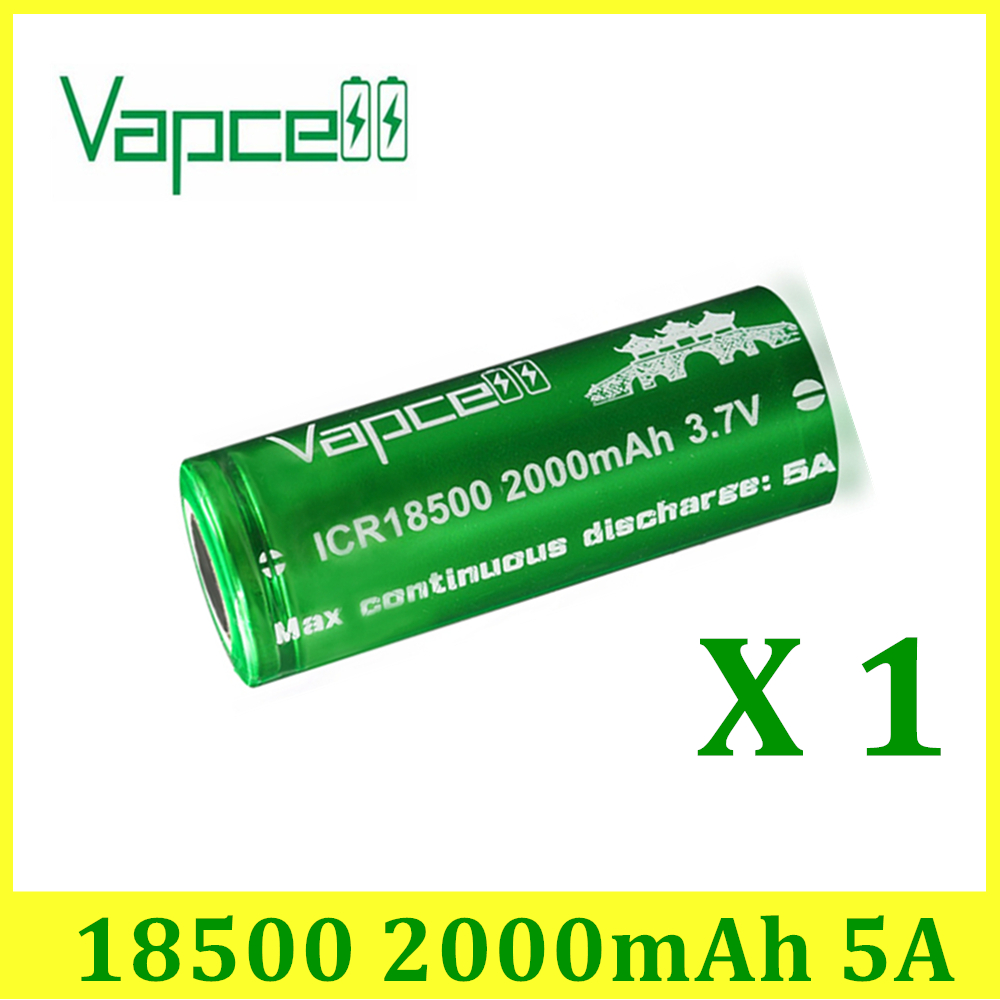 VAPCELL ICR18500 2000mAh lithium <font><b>ICR</b></font> <font><b>18500</b></font> 3.7V rechargeable <font><b>battery</b></font> continuous 5A electronic smoke E-CIG vs keeppower image