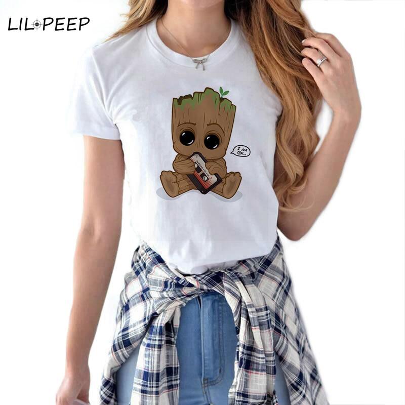 Cute Groot Baby Women Cool T Shirt Superhero Streetwear Aesthetic Harajuku Camiseta Mujer Cotton White Summer Marvel Tops