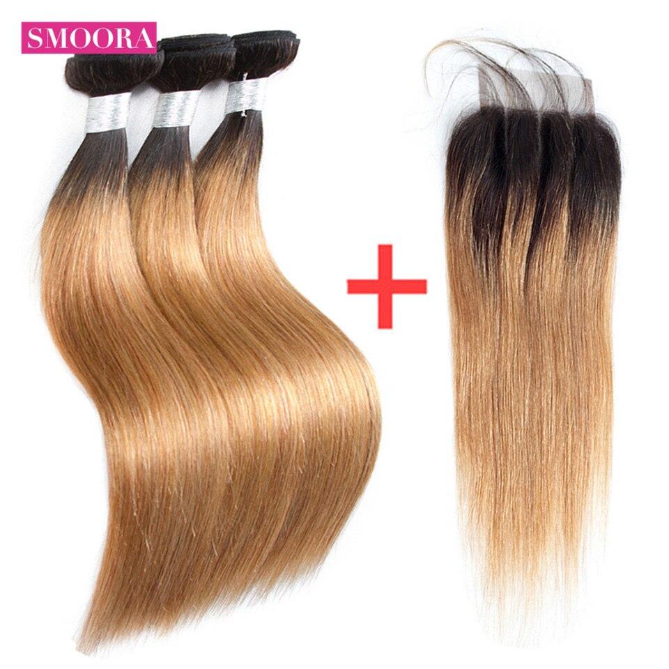 Ombre темные корни светлые бразильские прямо 3 Комплект человеческих волос с закрытием ребенок волос 2 тон Цвет T1B/27 30 99J не Реми Smoora