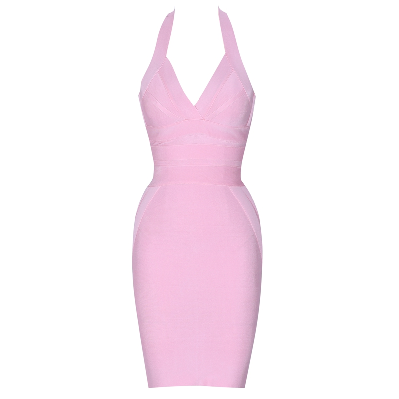 Ocstrade Sexy Bandage Dress Club Wear Summer 2019 New Clothing Pink Halter Rayon Womens Bandage Dresses Party High Quality-in Dresses from Women's Clothing    3