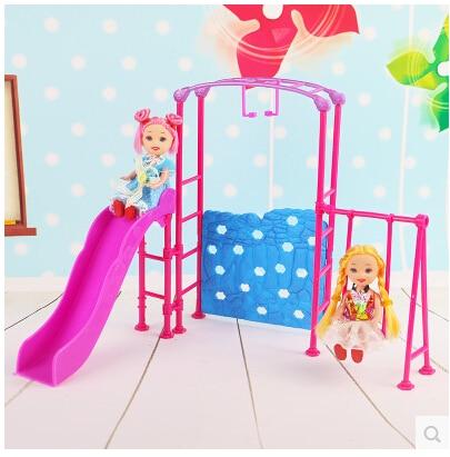 Livraison gratuite, poupée Amusement Park Slide swing accessoires pour poupée Barbie, maison de jeu fille