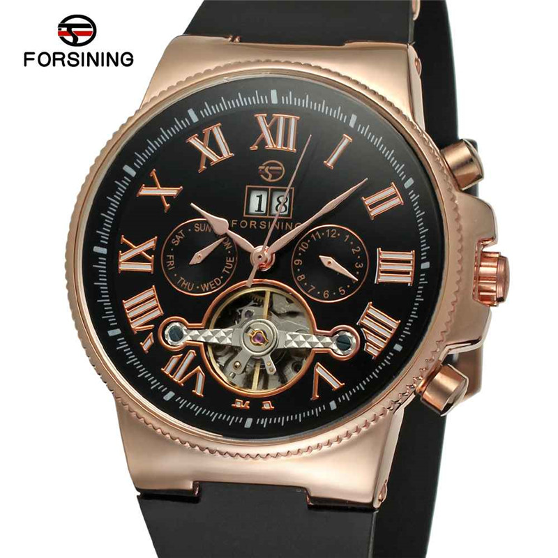 FORSINING Brand Men Automatic Mechanical Watch Luxury Rose Gold Tourbillon Herren Uhren Fashion Casual Rubber Sport Male Watches forsining multifunction tourbillon date day display rose golden watch men luxury brand automatic watch fashion men sport watches