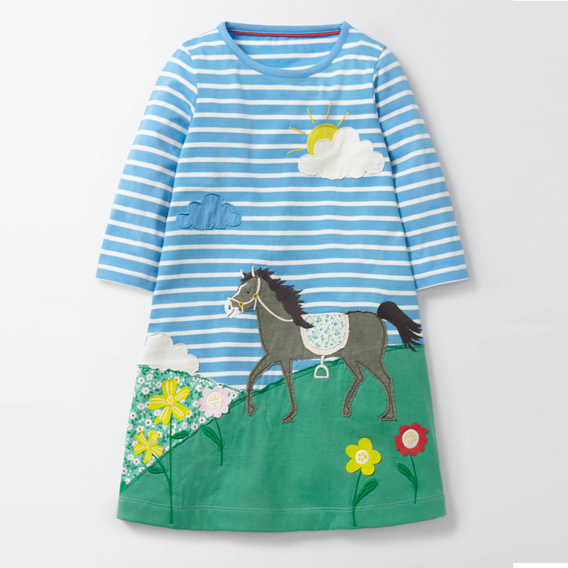 2017 new Baby Girls Dresses 100% Cotton Cartoon Dress Kids Clothes Spring Autumn Winter long sleeve Children Dress Clothing princess girls dress 2017 new fashion spring winter children long sleeve cartoon baby girl cotton party dresses for kids f2 18h